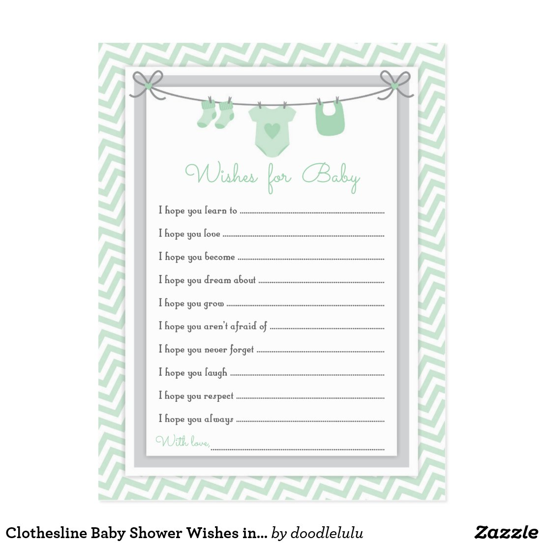Clothesline Baby Shower Wishes in green and gray Postcard