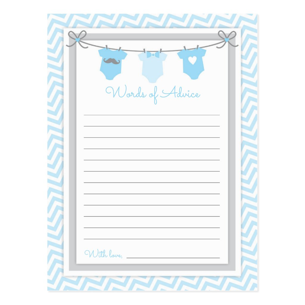 Clothesline Baby Shower Words of Advice blue-gray Postcard