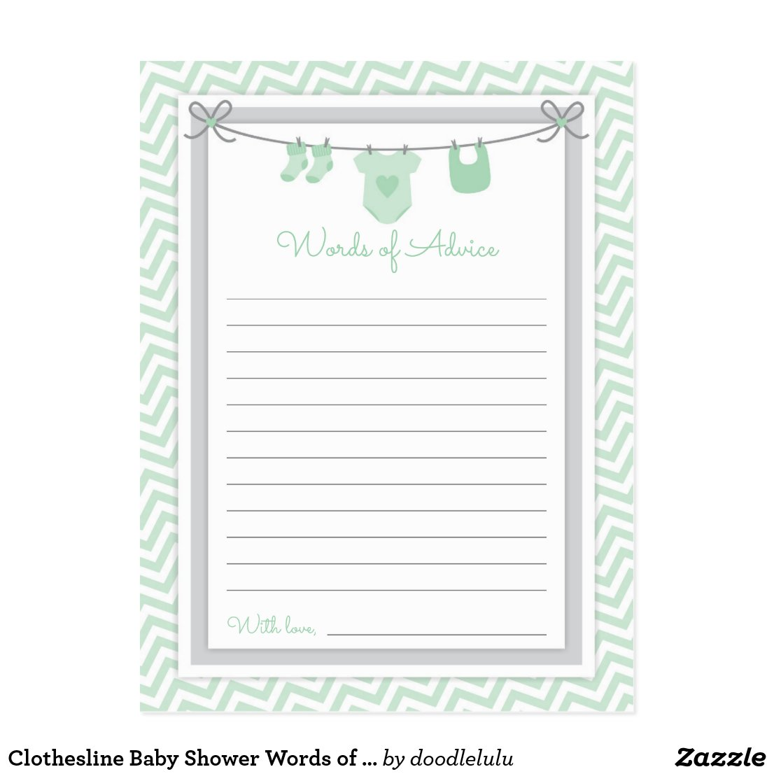 Clothesline Baby Shower Words of Advice green-gray Postcard