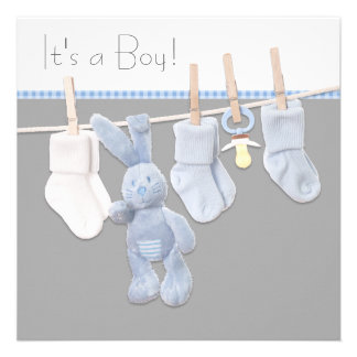 Clothesline Blue and Gray Baby Boy Shower Custom Announcements