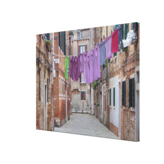 Clothesline In Venice Italy Canvas Print
