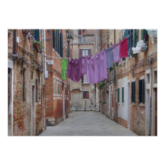 Clothesline In Venice Italy Poster