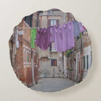 Clothesline In Venice Italy Round Pillow