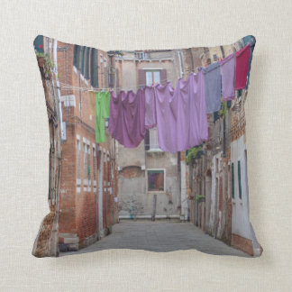 Clothesline In Venice Italy Throw Pillow