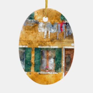 Clothesline on a Building in Burano Italy Ceramic Ornament