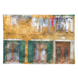 Clothesline on a Building in Burano Italy Cloth Placemat
