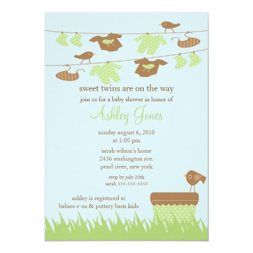 clothesline twins gender neutral baby shower personalized announcement