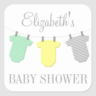 Clothesline Yellow & Aqua Baby Shower Sticker
