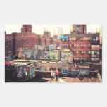 Clotheslines and Graffiti Rectangular Sticker