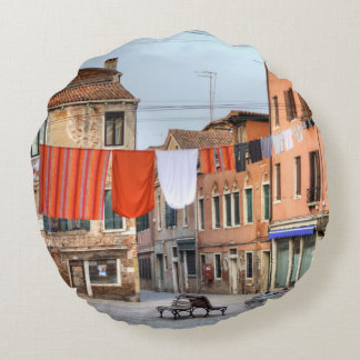 Clotheslines At Campo Ruga Round Pillow