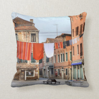 Clotheslines At Campo Ruga Throw Pillow
