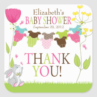 Clotheslines Baby Boy Girl Baby Shower Sticker