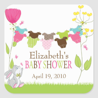 Clotheslines Baby Boy Girl Twins Baby Shower Square Sticker