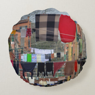 Clotheslines In Venice Italy Round Pillow