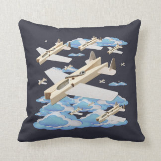 Clothespin Airplanes Throw Pillow