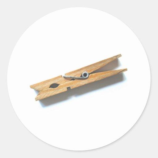 clothespin classic round sticker