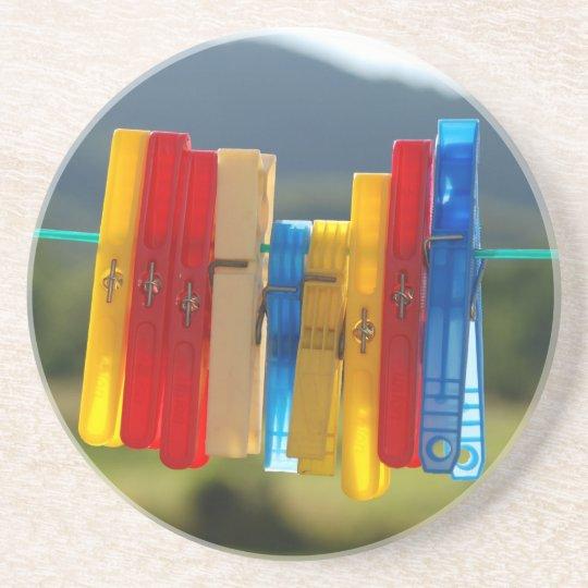 Clothespins Sandstone Coaster