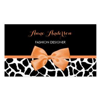 Clothier Girly Giraffe Print Orange Ribbon Bow Business Card