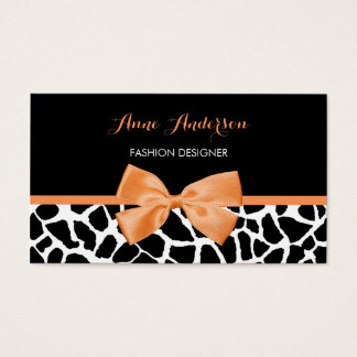 Clothier Girly Giraffe Print Orange Ribbon Bow Business Card