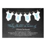 "Clothing Garland Baby Shower Invitation - Blue 5"" X 7"" Invitation Card"