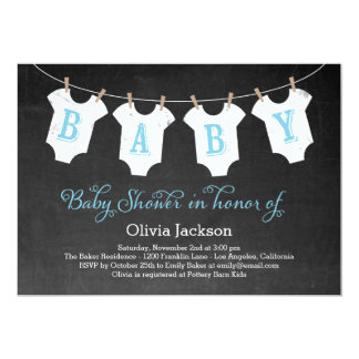 Clothing Garland Baby Shower Invitation - Blue
