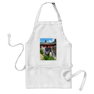 Clothing Hanging on Line Closeup Adult Apron
