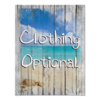 Clothing Optional Coastal Beach sign art prints