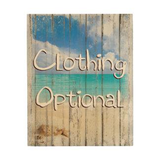 Clothing Optional Coastal Beach sign wood prints