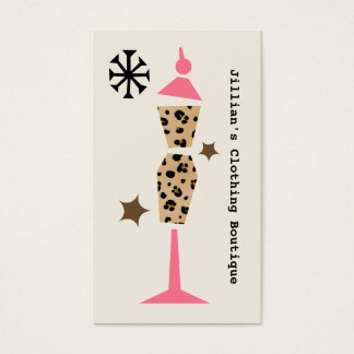Clothing Store Boutique - Leopard Pink Dress Form Business Card