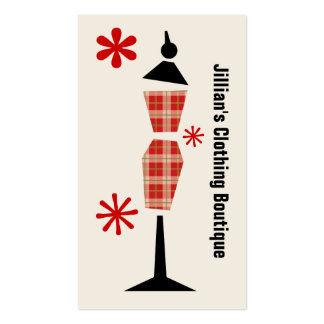 Clothing Store Boutique - Red Plaid Mannequin Double-Sided Standard Business Cards (Pack Of 100)