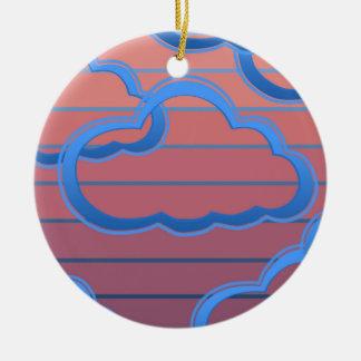 Cloud02clock Ceramic Ornament