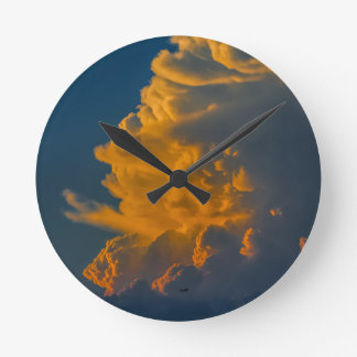 cloud-284688 CLOUDS NATURE BEAUTY SCENERY TEMPLATE Round Wallclock