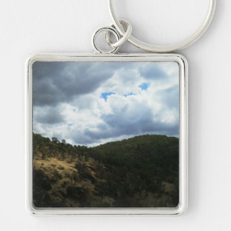 Cloud 9 Silver-Colored square keychain