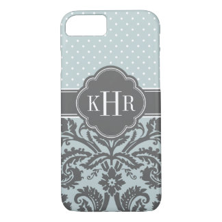 Cloud and Charcoal Gray Damask Polka Dots Monogram iPhone 8/7 Case