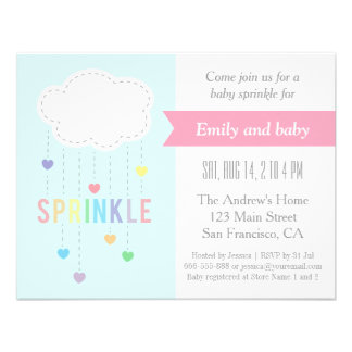 Cloud and Hearts Baby Sprinkle Shower Invitations