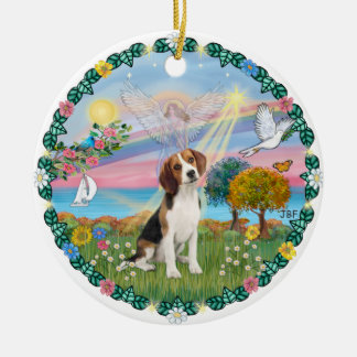 Cloud Angel #1B - Beagle Ceramic Ornament