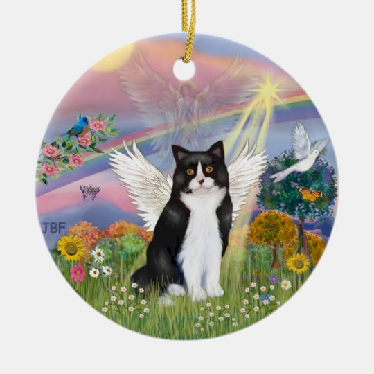 Cloud Angel - Black & White Cat Angel Ceramic Ornament