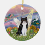 Cloud Angel - Black & White Cat Angel Double-Sided Ceramic Round Christmas Ornament