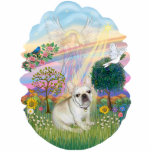 """Cloud Angel - French Bulldog 1 Statuette<br><div class=""""desc"""">An angel appears in the clouds as the sun breaks through and a rainbow brightens the sky.  A French Bulldog sits in the cool grass and watches a dove hovering overhead as a brilliant star shines down.</div>"""