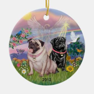 Cloud Angel - Two Girl Pugs Christmas Tree Ornament