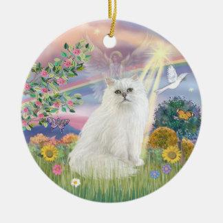 Cloud Angel -  White Persian Cat Ceramic Ornament