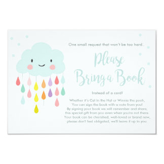 Cloud Baby Shower Bring a book Raindrops Colorful Card