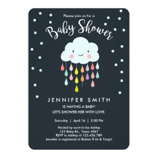 Cloud Baby Shower Invitation Raindrop Love