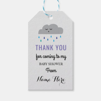 Cloud Baby Shower Rain Sleeping Boy Sprinkle Gift Tags