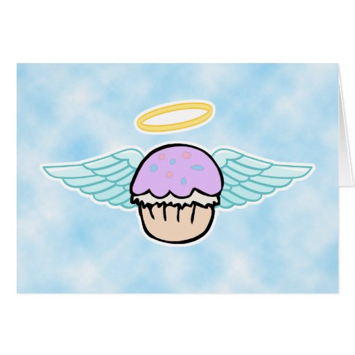 cloud background, cupcake angel no text greeting card