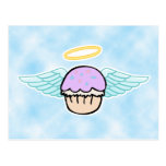 cloud background, cupcake angel no text postcard