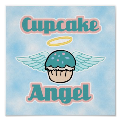 cloud background, cupcake angel poster