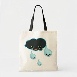 cloud black umbrella drop rain budget tote bag