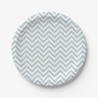 Cloud Blue and White Chevron Paper Plate