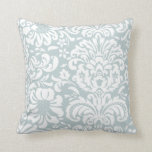 Cloud Blue and White Floral Damask Pillow